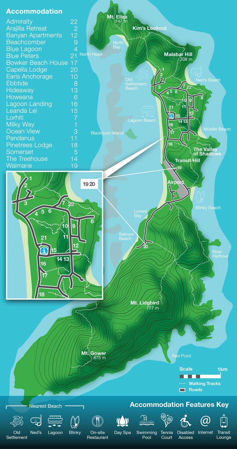Lord Howe Island Map 22 Accommodation to pick at Lord Howe Island   Book with Oxley Travel